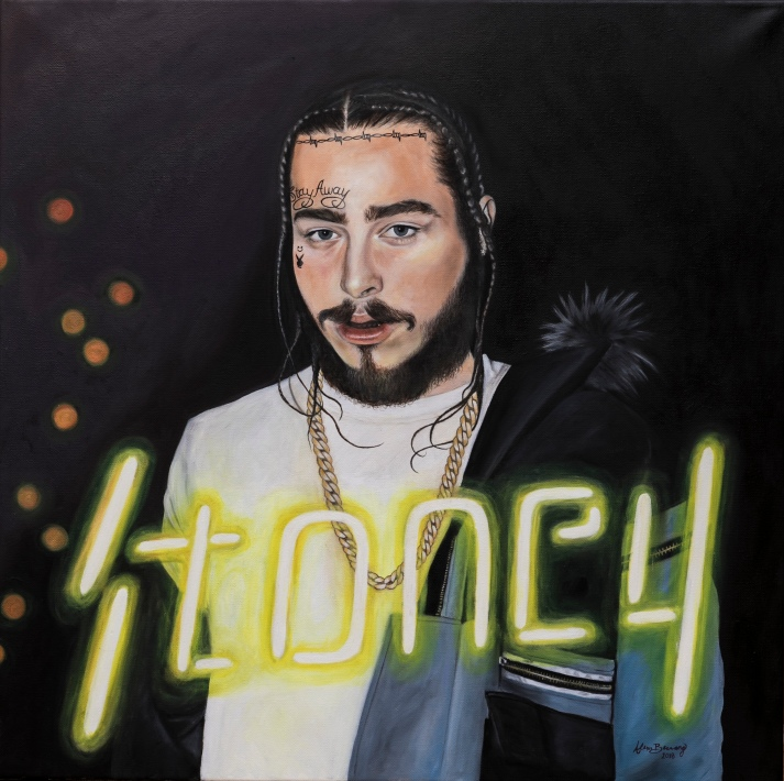Post Malone Oil on Canvas 24x24