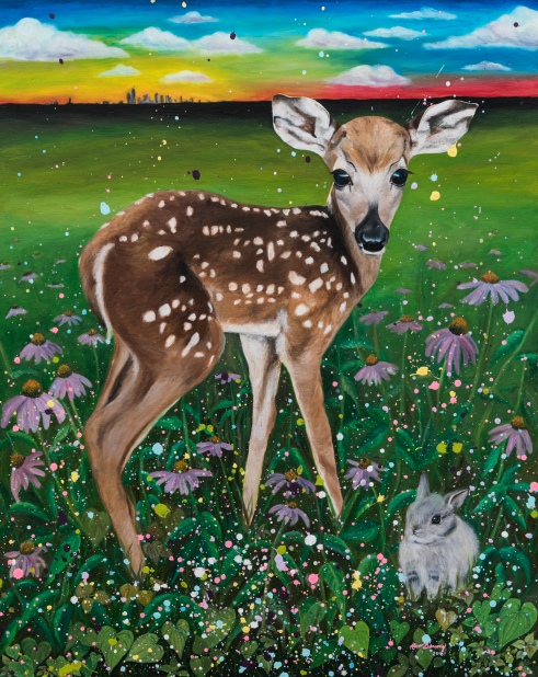 """Bambi"" Oil + Acrylic on canvas board"
